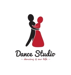 Dance studio logo Dancing couple logotype vector