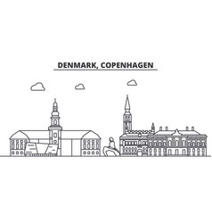 Denmark copenhagen architecture line skyline vector