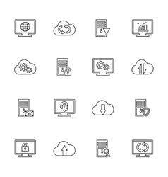 Design set with hosting server database vector