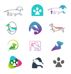 Dog logo line design concept icon element isolated vector