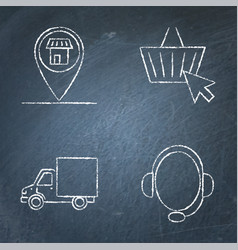 Ecommerce and buying online icon set on chalkboard vector