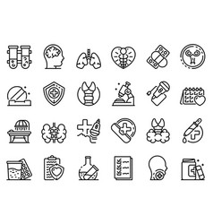 endocrinologist icons set outline style vector image