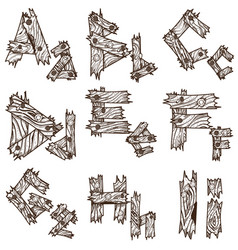 English alphabet from pieces of wood the original vector