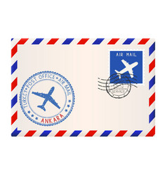 Envelope with ankara stamp international mail vector