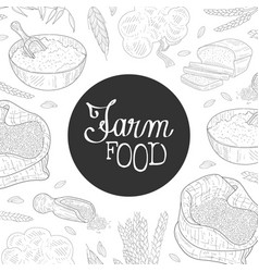 Farm food banner template organic agricultural vector