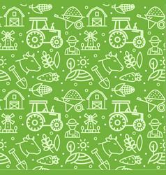 Farm signs seamless pattern background on a green vector