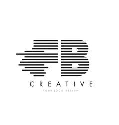 Fb f b zebra letter logo design with black and vector