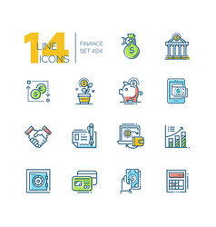 finance - colored modern single line icons set vector image