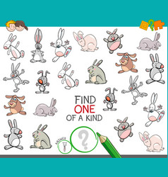 find one of a kind with rabbits animal characters vector image