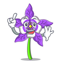Finger columbine flower mascot cartoon vector