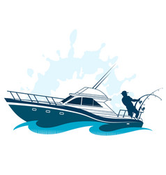 Fisherman on boat vector
