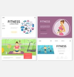 Flat fitness websites set vector