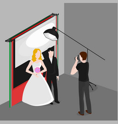 flat isometric newlyweds photographing bride and vector image