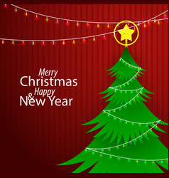 flat paper style merry christmas and happy new vector image