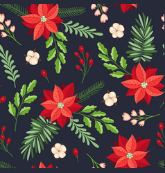 Floral seamless pattern with winter evergreen vector