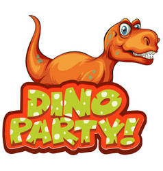 Font design for word dino party with happy t-rex vector