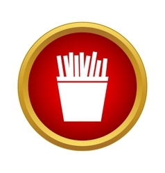 French fries in a box icon in simple style vector