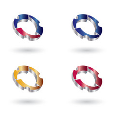 gear 3d glossy abstract logo vector image