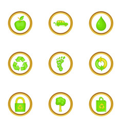 Green icons set cartoon style vector