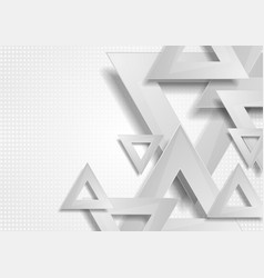 Grey abstract triangles tech geometric background vector
