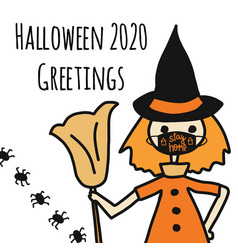 halloween 2020 greetings template witch wearing a vector image