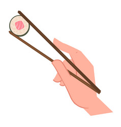 hand holding chopsticks with sushi seafood vector image