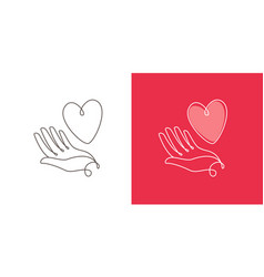 heart and hand logo business icon or symbol vector image