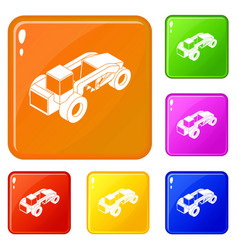 Heavy load truck icons set color vector