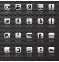 Home appliances and electronics icons buttons vector image