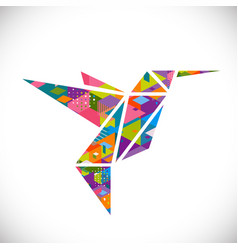Humming bird symbol with colorful geometric vector