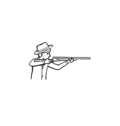 hunter hand drawn sketch icon vector image