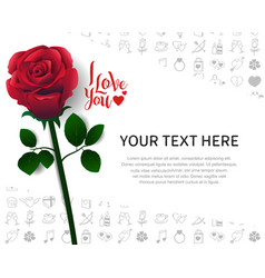 I love you concept design with red rose on white vector