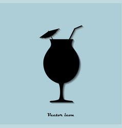 icon glass of cocktail on a blue background vector image
