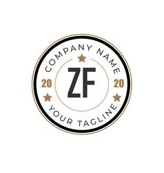 initial letter zf elegance logo design template vector image