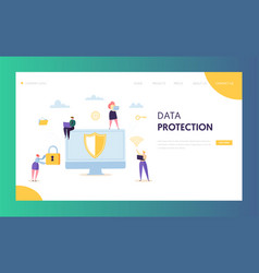 Internet data safety network landing page vector