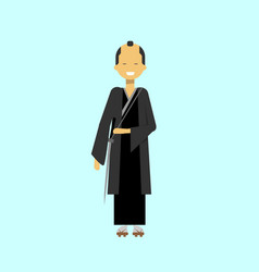 japanese samurai man in black kimono traditional vector image