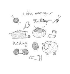 knitting and crochet set lovely lamb tangles of vector image