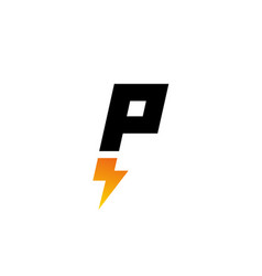 letter p lightning logo icon design template vector image