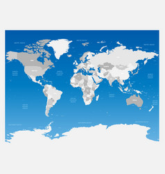 light grey political world map on blue gradient vector image