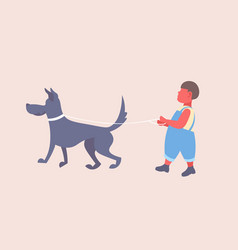 little boy walking with dog cute child and his dog vector image