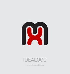 m and x initial logo mx initial monogram logotype vector image