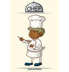 Male chef tasting food vector