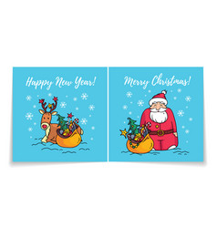 merry christmas card with santahappy new year vector image