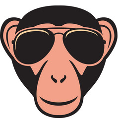 Monkey with aviator sunglasses color vector