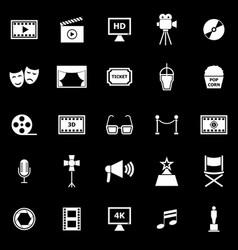 Movie icons on black background vector