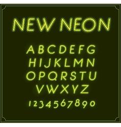 Neon italic font type alphabet glowing in vector
