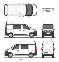 Nissan nv300 combi delivery van l1h2 2014 vector