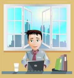 Office men working computer vector