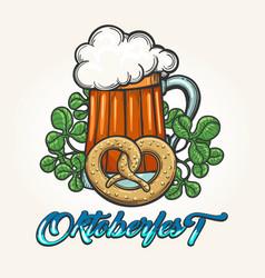 oktoberfest hand drawn emblem vector image