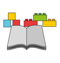 open book cube and blocks kid toys vector image